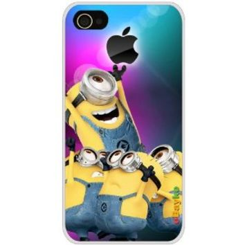 4GDCM-05W iPhone 4S 4G iPhone4 At&t Sprint Verizon Funny Cartoon Despicable Me Minions Hard Case Cover with eBayke Logo