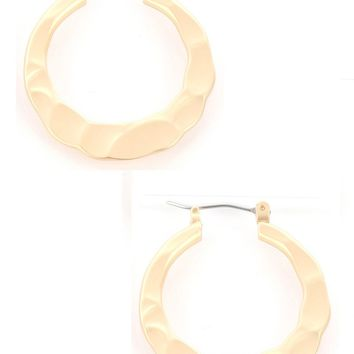 Gold Matte Finish Metal Hammered Hoop Earring