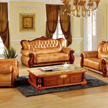 luxury European leather sofa set living room sofa made in China sectional sofa wooden frame 1+2+3