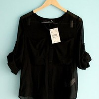 Women Loose New Style 3/4 Sleeve Pure Color Chiffon V Neck Buttons Black Shirt @II0018b $14.59 only in eFexcity.com.