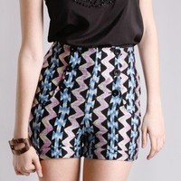 Shock Gun High Waist Knit Shorts in Bottoms at Frock Candy