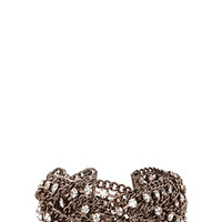 FOREVER 21 Rhinestoned Braided Chain Bracelet Gunmetal/Clear One