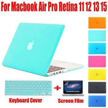 Crystal/Matte Hard Surface Full Protective Fundas Capa Laptop Cover Case for Macbook Air 11 13 Pro 13 15 Pro Retina 12 inch+GIFT