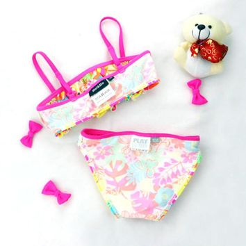 Kids Girls Summer Beach Flower Floral Print Swimwear Bikini Bra Tops+ Brief Swimsuit For 3-7 Years