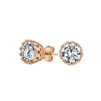 Crown Solitaire CZ Stud Earrings 14K Rose Gold Plated Sterling Silver