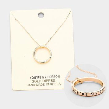 """""""You're My Pearson"""" Gold Dipped Ring Pendant Necklace"""