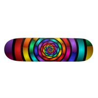 Round and Psychedelic Colorful Modern Fractal Art Skateboard Deck