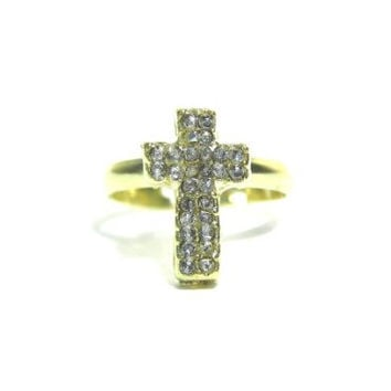 Tiny Cross Ring Size 6.5 Adjustable Dainty Crystal RB45 Christian Jesus Gold Tone Charm