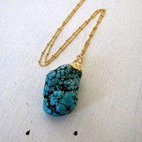 Stabilized Turquoise Nugget Necklace Turquoise Necklace Layering Necklace Long Boho Gemstone Necklace Long Gold Filled Chain Gold Filled Satellite Chain