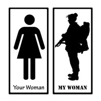 My Woman vs. Your Woman Army Military Proud Decal Sticker