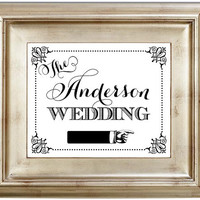 8x10 Reception Pointing Personalized Last Name White Wedding Sign Black Friday AND Cyber Monday Sale