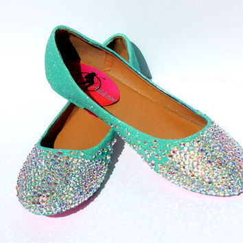 Mint Crystal Ballet Bridal Flats