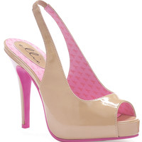 Beige & Pink Open Toe Mary Ellen Awareness Slingback Heels