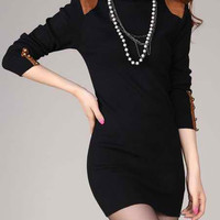 Black Turtle Neck Long Sleeve Sheath Dress