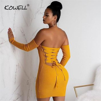 Hot sale sexy knitted off shoulder christmas dress Women bodycon lace up mini dress Autumn winter backless elegant party dress