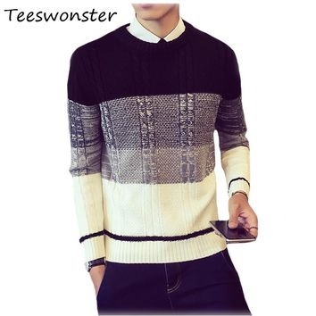 Men 2017 Plaid Winter Knitting Sweaters Striped For Turtleneck Patchwork Male Pullover Sweater Man Big Sizes Brand-Clothing