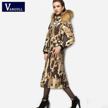 Camouflage Faux Fur Collar Puffy Coat