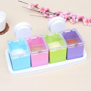 Multifunction Sucker Wall Hanging Seasoning Sugar Creamer Storage Box Set Pepper Pots Acrylic Kitchen Spice Jar With Shelf