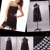 One shoulder with beads prom dress evening dress