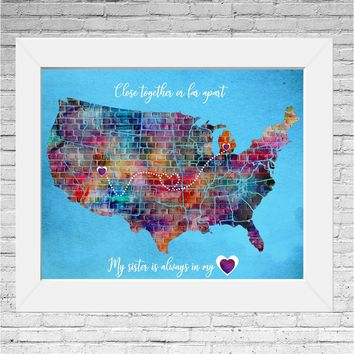 custom family sign, personalized long distance family gift, Map, sister birthday gift, watercolor map art, best selling items, Mothers day
