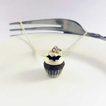 Scented Chocolate Cupcake with a Spooky Black Bat on White Icing, Creepy Cute Miniature Food Jewelry / Halloween Necklace / reverdefaire /
