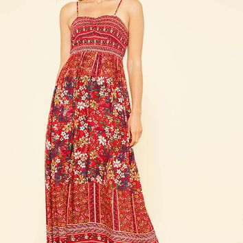 Floral Smocking Top Maxi Dress