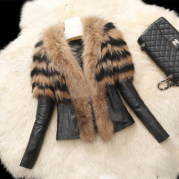Winter Medium length Women's Warm Fur Collar Coat Leather Cotton Jacket Trench Outwear S-222