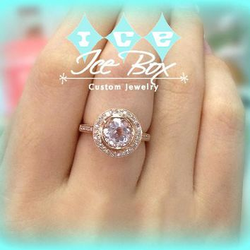 Morganite Engagement Ring 2.3ct, 8mm Round Bezel Set in a 14k Rose Gold Raised Diamond Halo setting