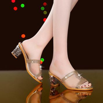 Fish Mouth Chunky Heel Sandals