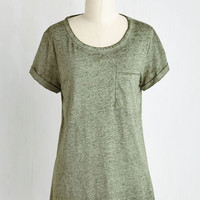 Mid-length Short Sleeves Your Placid or Mine? Top in Moss