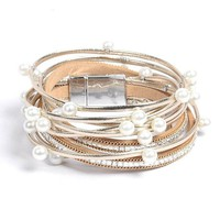 Bangle charm leather bracelet with simulated pearl 2 layer