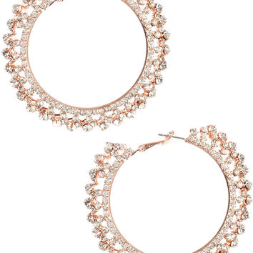 Fancy Crystal Stone Earrings Rose Gold