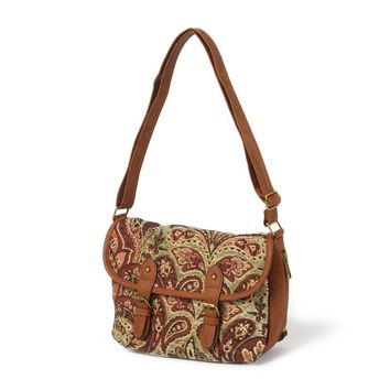 Austin Tapestry Crossbody Bag with Faux Leather Trim  | Icing