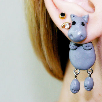 fake gauge plug two part hippopotamus, behemoth, river-horse Earrings, Polymer Clay Adorable Jewelry, Pet Polymerclay