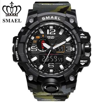 Sports Watch Men Dual Time Camouflage Military Style