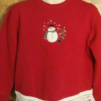 Cheap Cute Red Christmas Sweatshirt