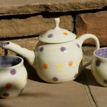 Polka Dotted Tea Set - Stoneware Pottery, Hand thrown - ceramic tea pot and two tea cups
