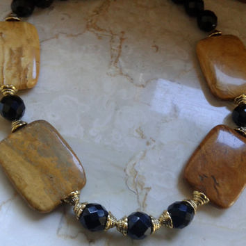 Handmade necklace with African Jade and Black Crystal Beads