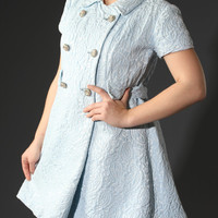 60s Ice Blue Mod Mini Babydoll Dress // Large Rhinestone Buttons & Heavy Textured Damask Tapestry Brocade Jacquard // New Years Eve Dress!