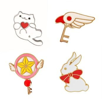 Fashion Clothing Jewelry Denim Jacket Brooches Accessories Metal Enamel pin Cats Rabbit Brooch Girl Jewelry Badge Button Handle