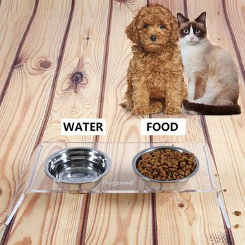 Double Bowl Pet Feeder Dog Cat Pet Stainless Steel Water Food Dispenser Dish Acrylic Stand Feeding Tools Gadgets