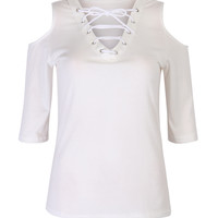 White Plunge Lace Up Front Cold Shoulder Half Sleeve T-shirt