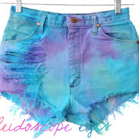 Vintage Wrangler High Waist COLORFUL Ombre Dip Dyed Denim Cut Off Shorts S M