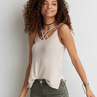 AEO Strappy Sweater Tank , Oatmeal Heather