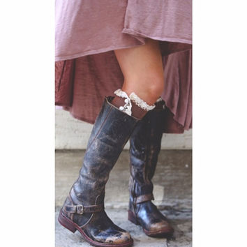 Lace Trim Boot Socks with Side Buttons