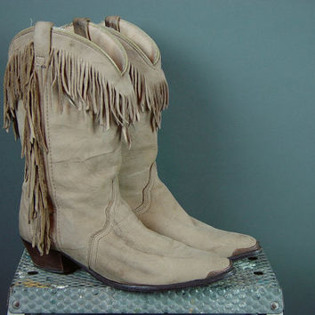 Vintage 70s Acme Cowboy Boots Fringe Hippie Cowgirl Shortie Pointy Toe Crinkle Ladies Womens 8