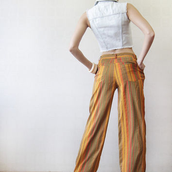 Vertical striped orange brown pure silk mid waist pants trousers