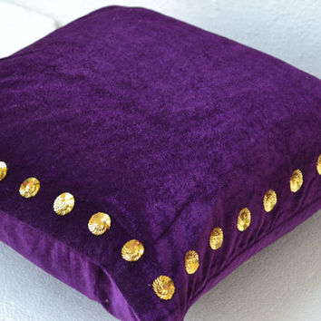 "Custom Listing for 3 Pillow Covers Sized 20""x20"" in velvet with gold sequin detail - (i) 2 Dark Red  (ii) 1 Purple pillow"