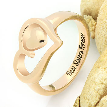 "Sister Two Heart Ring Promise Sister Ring ""Best Sisters Forever"" Engraved on Inside Sister Forever Rings Best Gift for Sister"
