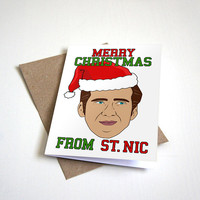 Merry Christmas From St. Nic - Funny Christmas Card - Meme Card - Celeb Card - Internet Meme Card 4.5X6.25 Inch card